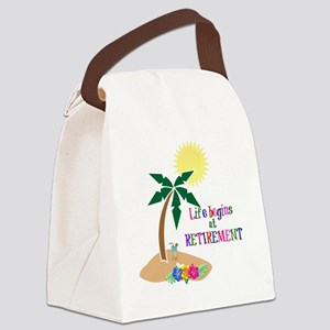 Life Begins at Retirement, Tropic Canvas Lunch Bag