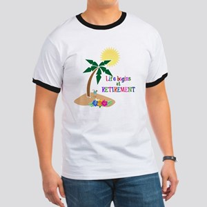 Life Begins at Retirement, Tropical Beach Ringer T