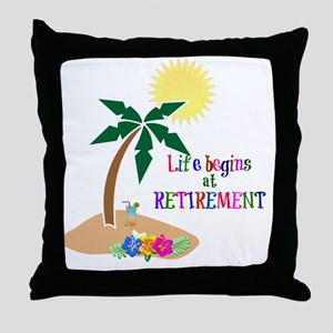Life Begins at Retirement, Tropical B Throw Pillow