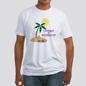 Life Begins at Retirement, Tropical Fitted T-Shirt