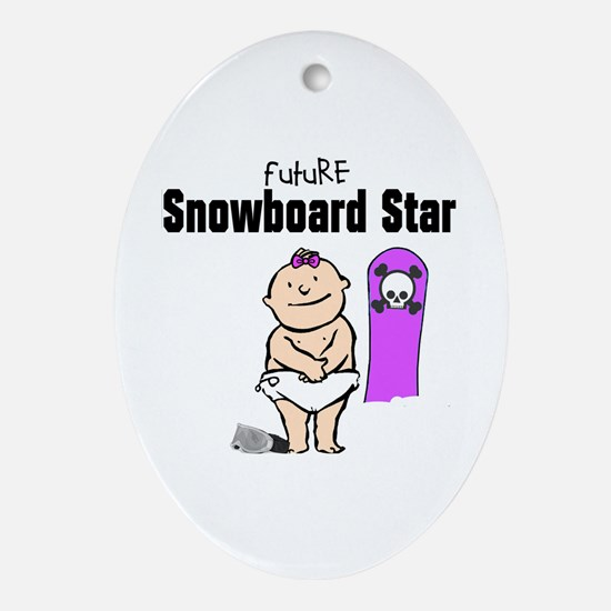 Future Snowboard Girl Oval Ornament