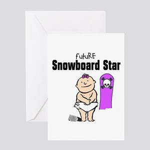Future Snowboard Girl Baby Card