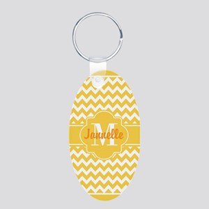 Yellow Chevron Custom Monog Aluminum Oval Keychain