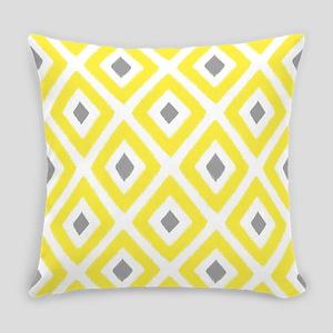 Ikat Patern Yellow and Grey Diamond Everyday Pillo