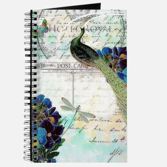 Vintage teal peaock Journal