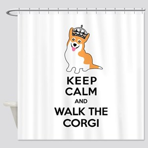 Funny Corgi Keep Calm Shower Curtain