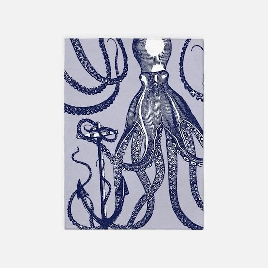 Awesome Vintage Indigo Octopus 5'x7'Area Rug