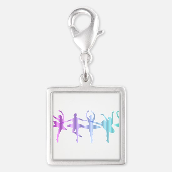 Ballet Lines Silver Square Charm