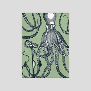 Exquisite Royal Dark Green Octopus 5'x7'Area Rug