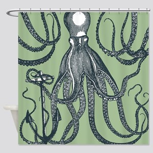 Exquisite Royal Dark Green Octopus Shower Curtain