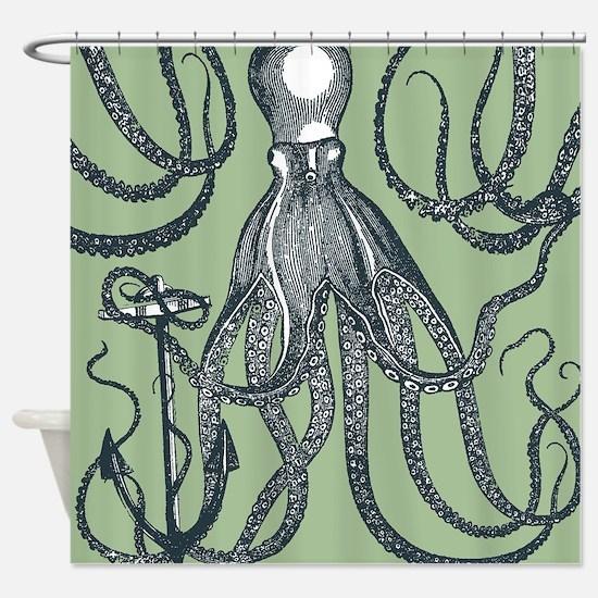 Exquisite Royal Dark Green Octopus Shower Curtain
