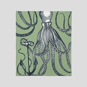 Exquisite Royal Dark Green Octopus Throw Blanket