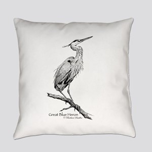Great Blue Heron Everyday Pillow