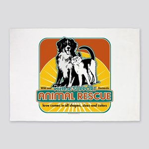 Animal Rescue Dog and Cat 5'x7'Area Rug