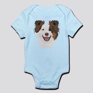 Illustration happy dogs face Border Coll Body Suit