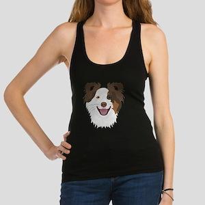 Illustration happy dogs face Border Colli Tank Top
