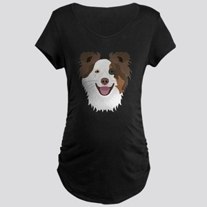 Illustration happy dogs face Bor Maternity T-Shirt