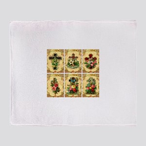 Six Crosses & Flowers Throw Blanket