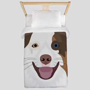 Illustration happy dogs face Bord Twin Duvet Cover