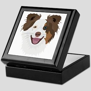 Illustration happy dogs face Border C Keepsake Box