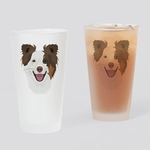 Illustration happy dogs face Border Drinking Glass