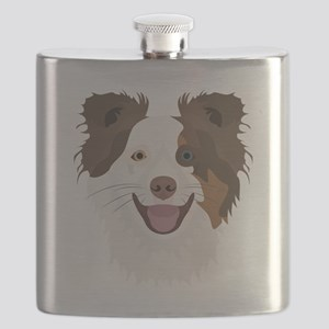 Illustration happy dogs face Border Collie Flask