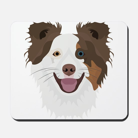 Illustration happy dogs face Border Coll Mousepad