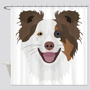 Illustration happy dogs face Border Shower Curtain