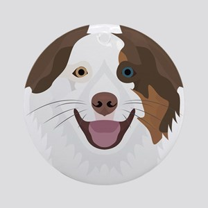 Illustration happy dogs face Border Round Ornament
