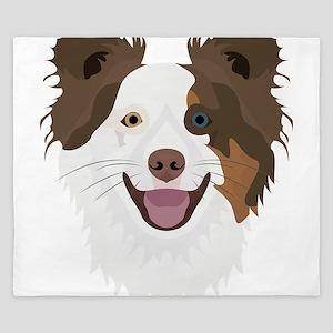 Illustration happy dogs face Border Col King Duvet