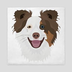 Illustration happy dogs face Border Co Queen Duvet