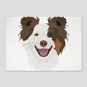 Illustration happy dogs face Border 5'x7'Area Rug