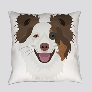 Illustration happy dogs face Borde Everyday Pillow