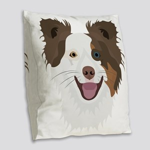 Illustration happy dogs face B Burlap Throw Pillow
