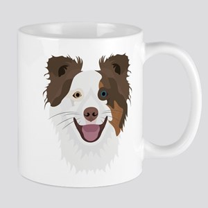 Illustration happy dogs face Border Collie Mugs