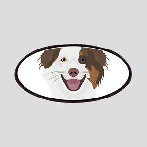 Illustration happy dogs face Border Collie Patch