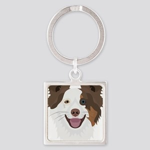 Illustration happy dogs face Border Coll Keychains