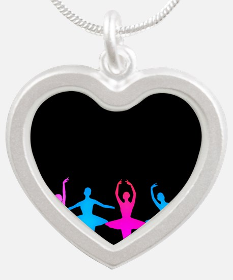 Bright Colorful Dancers Silver Heart Necklace