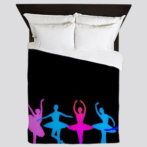 Bright Colorful Dancers Queen Duvet