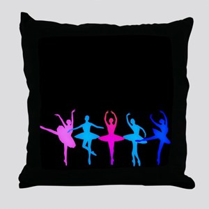 Bright Colorful Dancers Throw Pillow