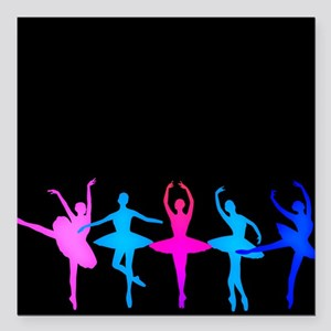 "Bright Colorful Dancers Square Car Magnet 3"" x 3"""