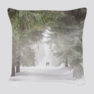 Lovers in the Snow Woven Throw Pillow