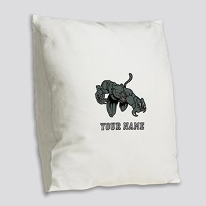 Panther Mascot (Custom) Burlap Throw Pillow