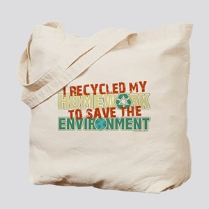 Recycled Homework Tote Bag