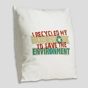 Recycled Homework Burlap Throw Pillow