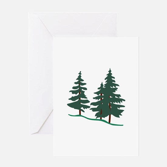 Evergreen Trees Greeting Cards