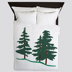 Evergreen Trees Queen Duvet