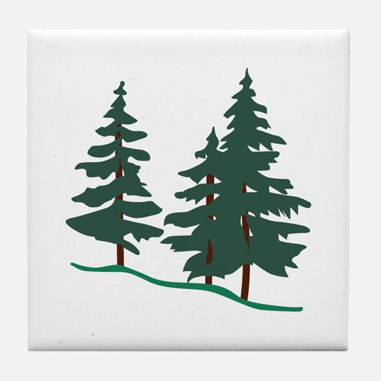 Evergreen Trees Tile Coaster