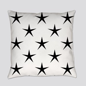 White and Black Star Pattern Everyday Pillow