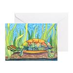 Tie Dye Turtle Watercolor Greeting Card